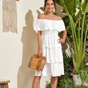 New White Ruffled Ruffle Layered Dress XS